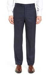 Zanella Men's Flat Front Solid Wool Trousers Navy