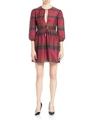 Rachel Zoe Colorblock Keyhole Mini Dress Plum