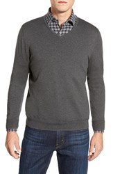 Men's John W. Nordstrom V Neck Sweater Grey Dark Charcoal Heather