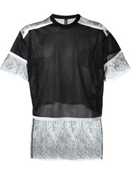 Astrid Andersen Lace Insert Mesh Wide Fit T Shirt Black