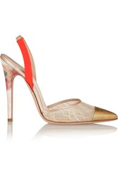 Giambattista Valli Lace Covered Mesh And Patent Leather Pumps Nude