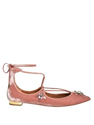 Aquazzura Christy Bee Embellished Velvet Flats Light Pink