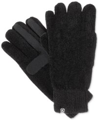 Isotoner Signature Chenille Knit Palm Smart Touch Tech Gloves Black