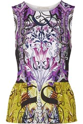 Mary Katrantzou Printed Stretch Jersey Peplum Top Purple