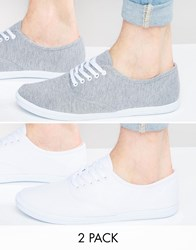 Asos Plimsolls 2 Pack In Grey And White Save 20 Grey White Multi