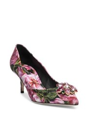 Dolce And Gabbana Crystal Embellished Rose Brocade Point Toe Pumps Rose Black
