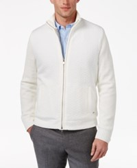 Alfani Men's Zip Front Cardigan With Faux Fur Lining Only At Macy's Bright White