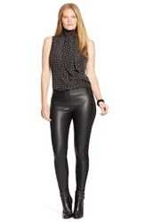 Lauren Ralph Lauren Faux Leather Front Leggings Plus Size Black