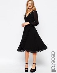 Asos Tall Midi Dress With 70'S Blouson Sleeves And Wrap Front Black