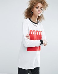 Asos T Shirt With Order Print And Super Long Sleeve White