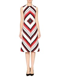Dolce And Gabbana Sleeveless Geometric Print Dress Red White Black Wht Blk Red Str