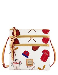 Dooney And Bourke Philadelphia Phillies Coated Cotton Triple Zip Crossbody Bag White