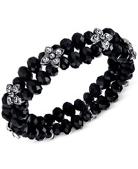2028 Silver Tone Black And Crystal Beaded Stretch Bracelet
