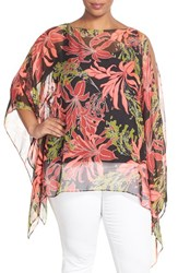 Plus Size Women's Vince Camuto 'Wildflower Blooms' Print Sheer Poncho