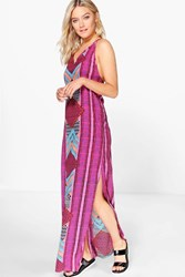 Boohoo Placement Print Strappy Back Maxi Dress Multi
