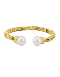 Majorica Goldtone Stainless Steel Bangle With Man Made Organic Pearl Accents Pearl Gold