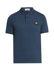 Stone Island Short Sleeved Pique Polo Shirt Blue