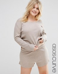 Asos Curve Lounge Ribbed Long Sleeve Boxy T Shirt Mink Pink