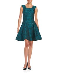 Betsey Johnson Patterned Fit And Flare Dress Teal Black