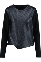 Karl Lagerfeld Esther Cotton Blend Jersey And Coated Matelasse Sweatshirt