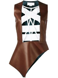 Esteban Cortazar Leather Detail Top Brown