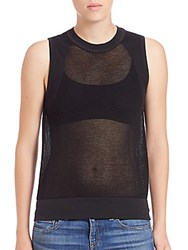 Rag And Bone Shea Sleeveless Mesh Top Black