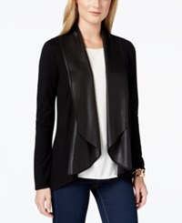Karen Kane Faux Leather Draping Shawl Collar Cardigan Sweater