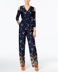 Ny Collection Petite Printed Cold Shoulder Jumpsuit Floralfall