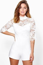 Boohoo High Neck Flare Sleeve Playsuit Ivory
