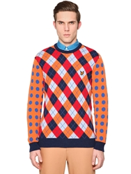 Lyleandscott For Jonathan Saunders Argyle And Polka Dot Wool Sweater Orange