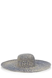 Oasis Mixed Weave Floppy Hat Blue Multi