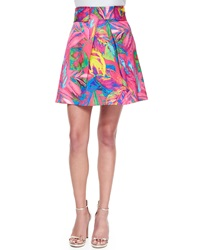 Milly Feather Print Mini Skirt