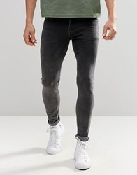 Asos Extreme Super Skinny Jeans In Acid Wash Washed Black