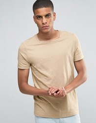 Asos T Shirt With Square Neck In Beige Blonde