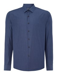 Peter Werth State Textured Slim Fit Long Sleeve Button Down S Navy