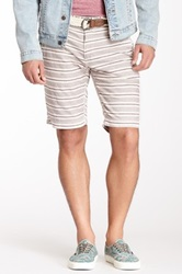 X Ray Stripe Print Belted Short Red
