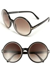 Tom Ford 'Carrie' Round Sunglasses Shiny Black Gradient Grey