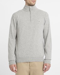 Gant Light Grey Lambswool Zip Neck Sweater