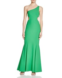 Nicole Miller One Shoulder Cutout Side Gown Paradise Green