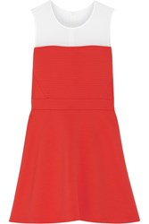 Sandro Rolling Paneled Quilted Jersey Mini Dress Red