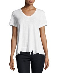 Jethro Slouchy Asymmetric V Neck Top White