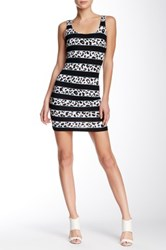 Necessary Objects Printed Sleeveless Bodycon Dress Black
