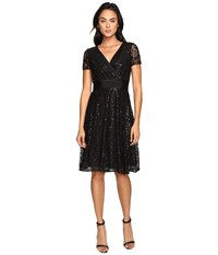 Nue By Shani Fit And Flare Sequin Lace Dress Black Women's Dress