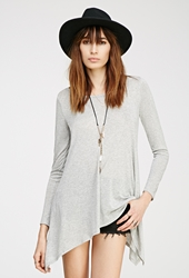 Forever 21 Heathered Asymmetrical Longline Tee Heather Grey