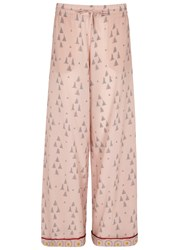 Valentino Pink Printed Silk Trousers