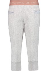 Adidas By Stella Mccartney Essentials 3 4 Cotton Blend Track Pants Light Gray