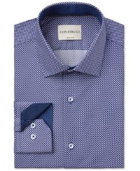 Construct Con. Struct Men's Slim Fit Chevron Print Dress Shirt Navy