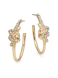 Amrita Singh Resort White Stone Knot Hoop Earrings 0.5 Gold