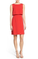 Women's Halogen Popover A Line Dress Red Bloom