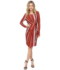 Catherine Malandrino Long Sleeve Knot Front Wrap Dress Reptile Plaid Women's Dress Red